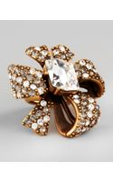 Oscar de la Renta Crystal Bow Ring Clear