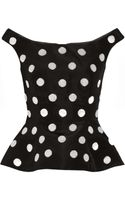 Oscar de la Renta Beaded Polkadot Silk faille Top - Lyst