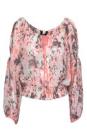Jane Norman Rose Print Sheer Gypsy Blouse - Lyst