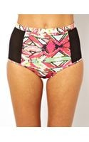 Asos Playful Promises Geo and Mesh High Waist Bikini Bottom