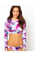 Asos Francesca Floral Long Sleeve Crop Top - Lyst