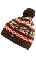 Barbour Khaki Fair Isle Knit Hat - Lyst