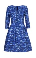 Oscar de la Renta Scallop Print Flared Dress - Lyst