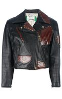 Moschino Vintage Distressed Patchwork Biker Jacket