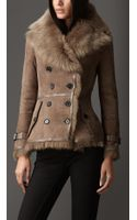 Burberry Leather Trim Shearling Jacket