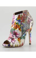 Jimmy Choo Bolt Painted Python Peeptoe Bootie