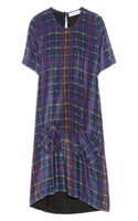 Preen Line Kensal Tartanprint Silk Crepe De Chine and Jersey Dress
