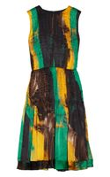 Oscar de la Renta Printed Pleated Silk Dress
