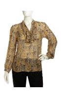 Lafayette 148 New York Natalya Animalprint Blouse Womens