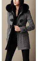 Burberry Fur Trim Fitted Duffle Coat - Lyst