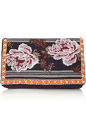 Matthew Williamson Zippy Embellished Jacquard and Suede Clutch