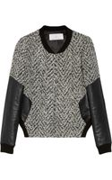 Thakoon Addition Leather-sleeved Tweed Bomber Jacket