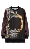 Givenchy Printed Sweatshirt with Sequin Sleeves