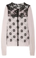 Nina Ricci Lattice-effect Wool and Cashmere-blend Cardigan