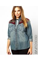 Asos Curve Denim Shirt in Dark Wash with Blanket Yoke