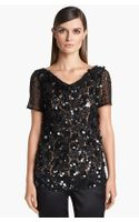 St. John Collection Cowl Neck Beaded Lace Top