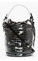 Kenzo Black Croc-embossed Leather 18 Bucket Bag - Lyst