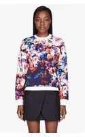 MSGM Blue and Pink Flower Sweatshirt