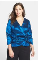Alex Evenings Satin Faux Wrap Blouse