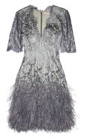 Matthew Williamson Mirror Embellished Metallic Lace Mini Dress