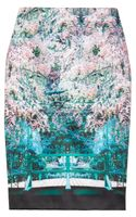 Mary Katrantzou Palma Printed Satin Pencil Skirt