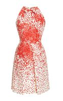 Giambattista Valli Printed Cotton Blend Pleat Front Dress