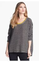 Eileen Fisher Wool Linen Stripe Bateau Neck Sweater