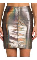 Muubaa X Revolve Kowie Leather Skirt in Metallic Silver