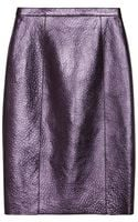 Burberry Prorsum Metallic Textured Leather Pencil Skirt