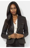 Lauren by Ralph Lauren Coated Two button Denim Blazer