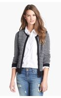 Halogen Patterned Wool Blend Sweater Jacket