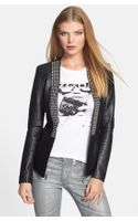 Michael by Michael Kors Studded Placket Leather Knit Jacket