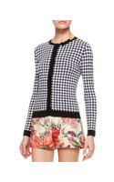 RED Valentino Gingham Knit Cardigan Whiteblack