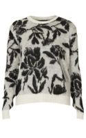 Topshop Knitted Brushed Floral Jumper