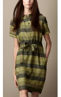 Burberry Striped Cotton Silk Shirt Dress - Lyst