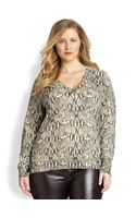 Michael Michael Kors, Salon Z Snakeskinprint Sweater - Lyst