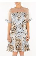 Philosophy di Alberta Ferretti Printed Dress with Mesh Shoulders