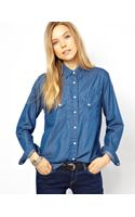 Denham Denim Shirt with Slanted Pockets - Lyst