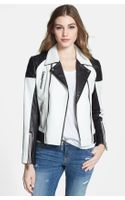 Michael by Michael Kors Asymmetrical Two Tone Moto Jacket