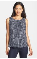 Anne Klein Houndstooth Plaid Sleeveless Shell - Lyst