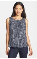 Anne Klein Houndstooth Plaid Sleeveless Shell