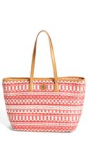 Tory Burch Stripe Small Straw Tote