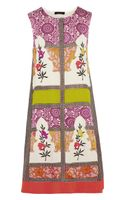 Vineet Bahl Embroidered Printed Crepe De Chine and Satin Dress - Lyst