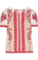 Alice By Temperley Geranium Botanical Embroidered Cottontulle Top