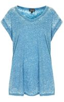Topshop V Neck Burnout Tee - Lyst