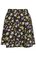 Topshop Wild Flower Button Skirt