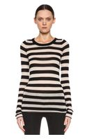 Enza Costa Stripe Crewneck Sweater