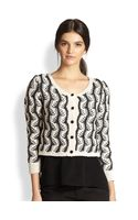 Alice + Olivia Georgia Vine Knit Cropped Cardigan Sweater - Lyst