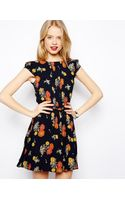 Asos Skater Dress with Pintucks in Floral Print - Lyst