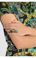 Oscar de la Renta Goldplated Amazonite and Quartz Ring - Lyst